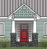 The front elevation of the Mountain View 4. Click here to view more of the design!